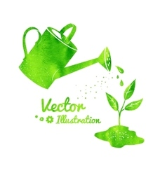 Watering can and growing sprout vector