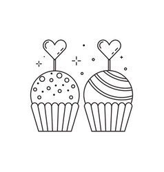 Wedding candy bar sweets icon in line art vector