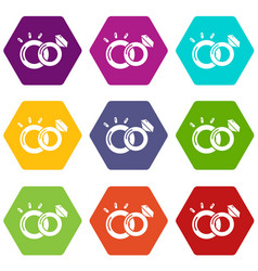 wedding rings icons set 9 vector image
