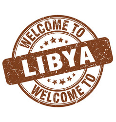 Welcome to libya brown round vintage stamp vector