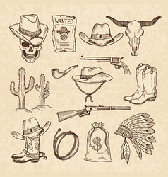 Western symbols cowboy guns saloon and other vector