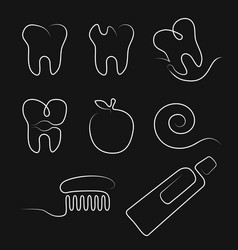 white line icons dental care in whimsy style vector image