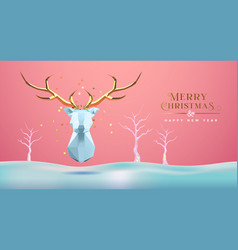 year abstract 3d low poly gold deer vector image