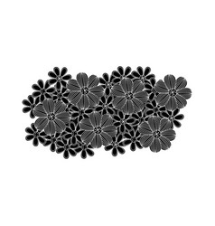 black pattern with white contour floral design vector image