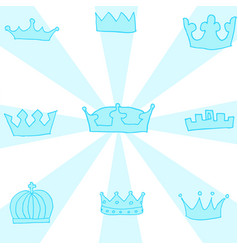 hand drawn crowns set vector image vector image