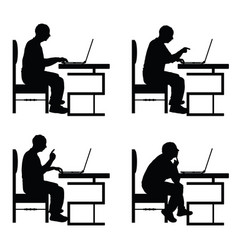 man silhouette sitting on chair and work on vector image