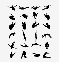 silhouettes of jumping vector image