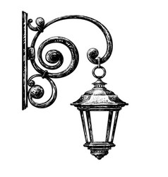 sketch of street light vector image