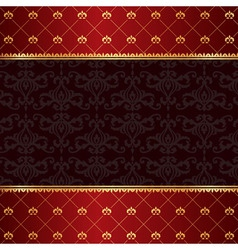 Vintage luxury red damask background with frame of vector image vector image