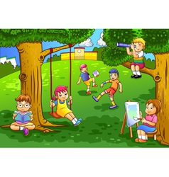 a kids playing in the garden vector image vector image
