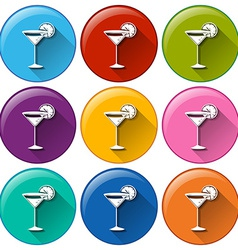 Buttons with wineglasses vector image