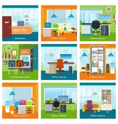 Collection of Office Interiors Concept vector image