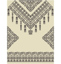 Design neckline sleeves and border in ethnic style vector image vector image