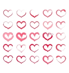 Grunge heart set Collection of hand drawing vector image vector image