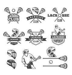 labels of lacrosse club monochrome vector image