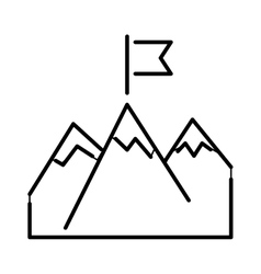 Line mountains with flag arrow success icon vector image