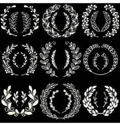 Set of handdrawn laurels and wreaths vector image vector image