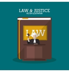 Book and judge of law and justice design vector image vector image