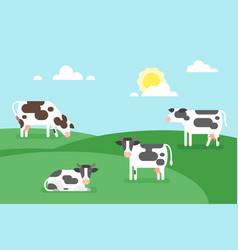 cows graze in a field vector image