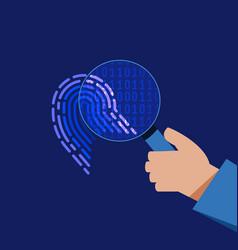 cyber security digital binary fingerprint flat vector image vector image