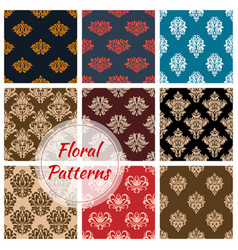 floral damask ornament seamless patterns vector image