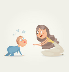 mother with baby funny cartoon characters vector image