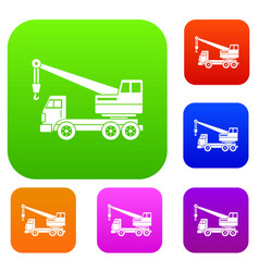 truck crane set color collection vector image vector image