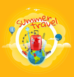 Vacation travelling concept with the handbag vector