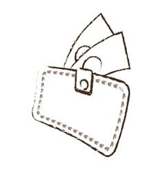 wallet bill money cash dollar sketch vector image