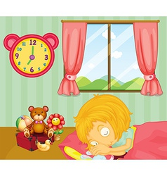 A young girl sleeping soundly in her bedroom vector image vector image