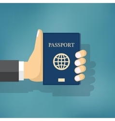 Businessman Hand Hold Passport vector image vector image
