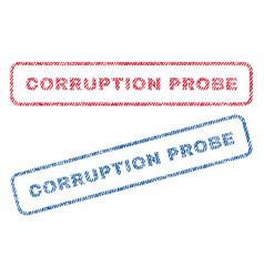 Corruption probe textile stamps vector