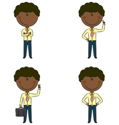 Cute and funny African-American businessmen vector image vector image