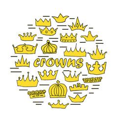 hand drawn crowns set vector image