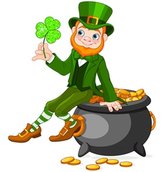 Leprechaun sitting on pot of gold vector image vector image