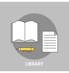 Library concept outline icons vector image