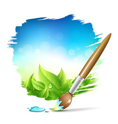 Painting brush natural with blue sky background vector image
