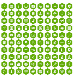 100 hacking icons hexagon green vector image