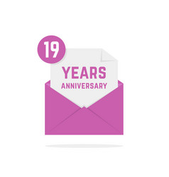 19 years anniversary icon in lilac open letter vector