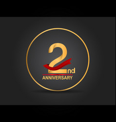 2 anniversary design golden color with ring vector