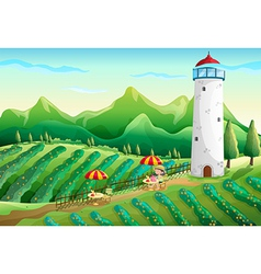 A farm with a young girl enjoying the ambiance vector image