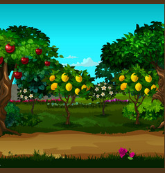 a garden with ripe fruit cartoon close-up vector image