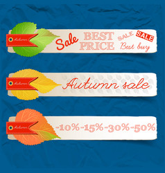 Abstract autumn sale natural horizontal banners vector