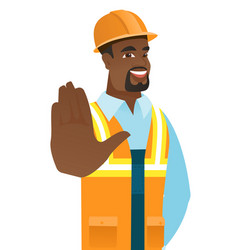 African-american builder showing palm hand vector
