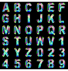 alphabet font gem and colored glass vector image vector image