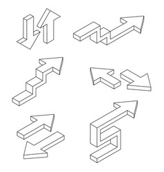 Arrows outline isometric icons vector