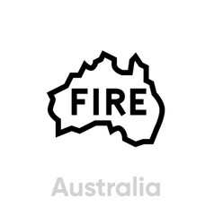 australia with fire logo icon editable vector image