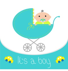 Baby blue carriage Its a boy Flat design style vector