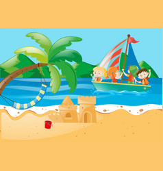 Beach scene with kids on the sailboat vector