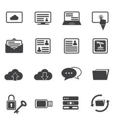 Big data icon set cloud computing vector